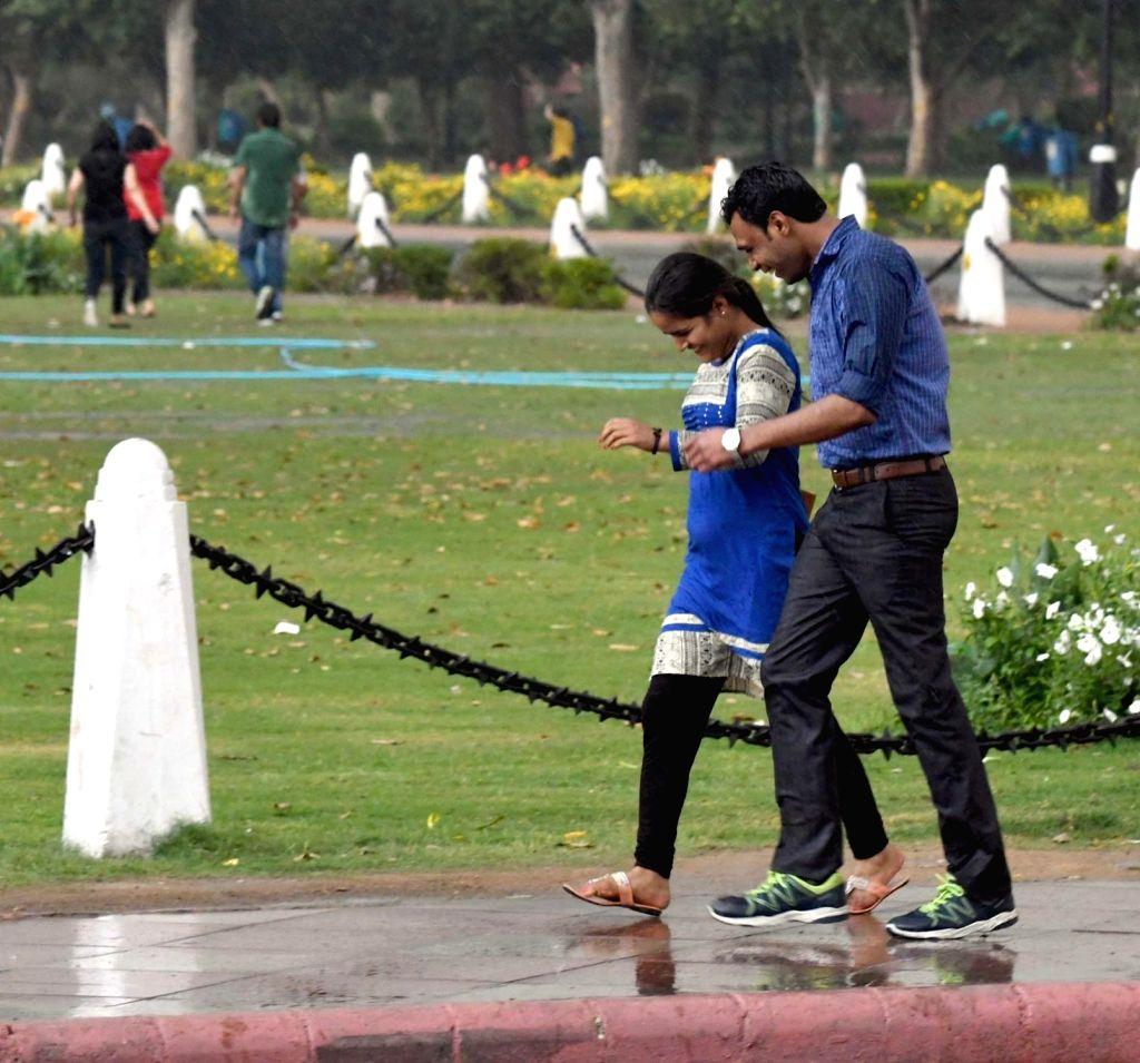 Rains lash Delhi on March 9, 2017.