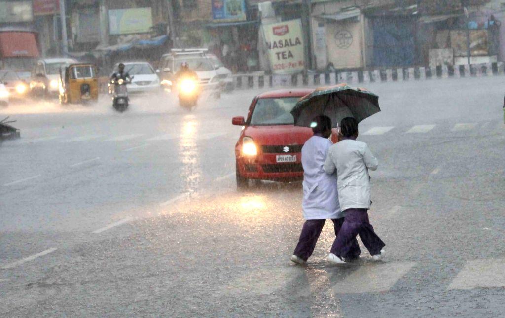 Rains lash Hyderabad on Aug 19, 2017.