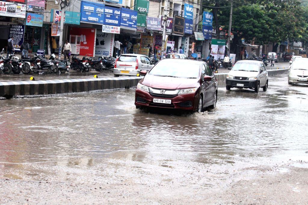 Rains lash Hyderabad on Oct 9, 2016.