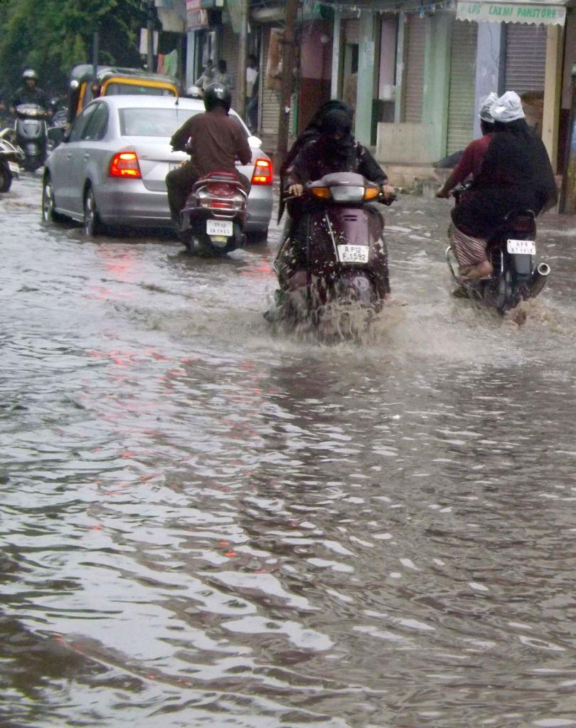 Rains lash Hyderabad on Oct8, 2016.