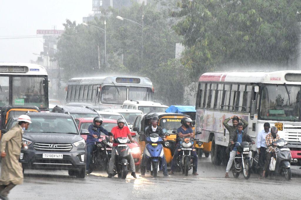 Rains lash Hyderabad on Sept 13, 2016.