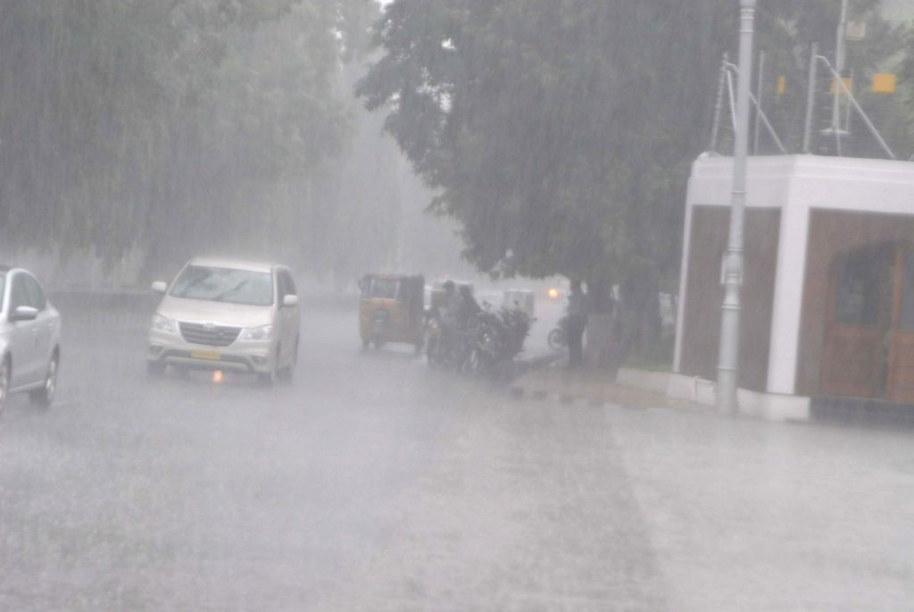 Rains lash Hyderabad on Sept 28, 2017.