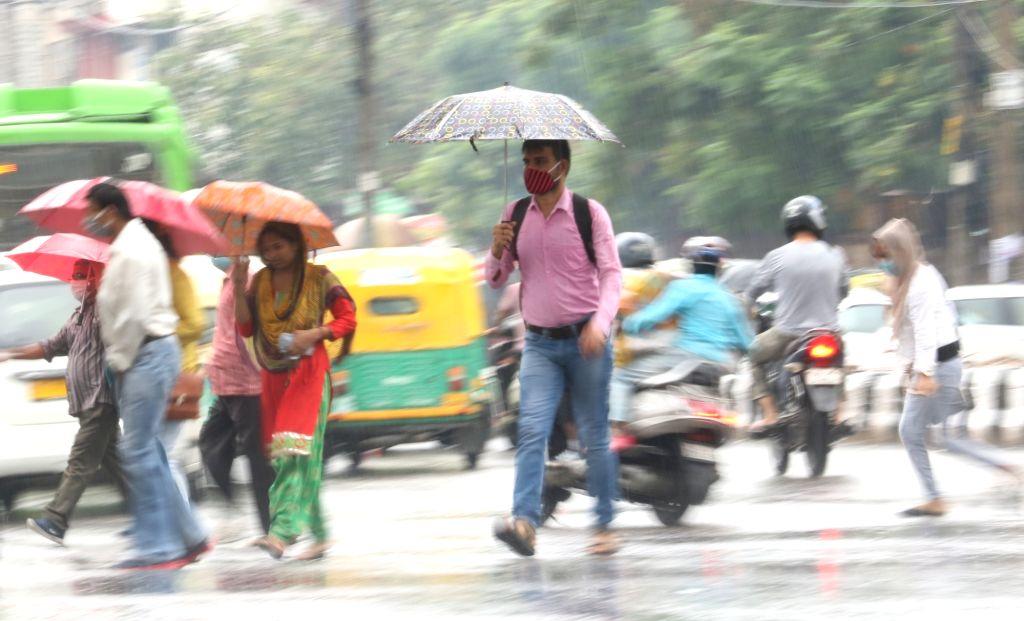 Rains lash New Delhi on Aug 13, 2020.