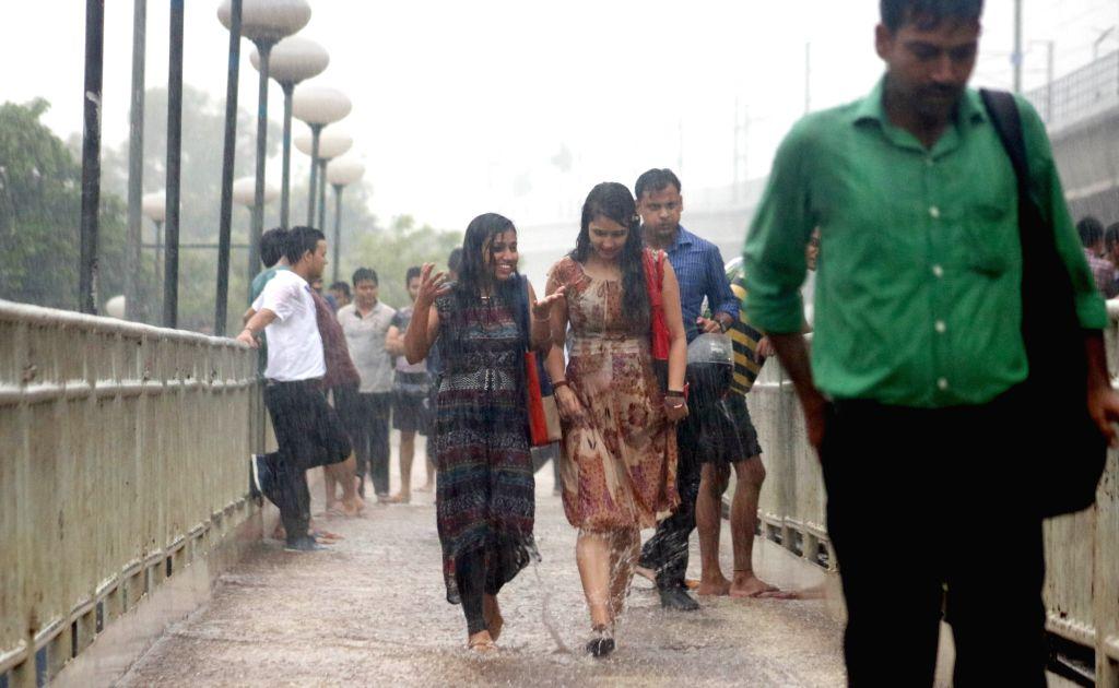 Rains lash New Delhi on July 14, 2016.