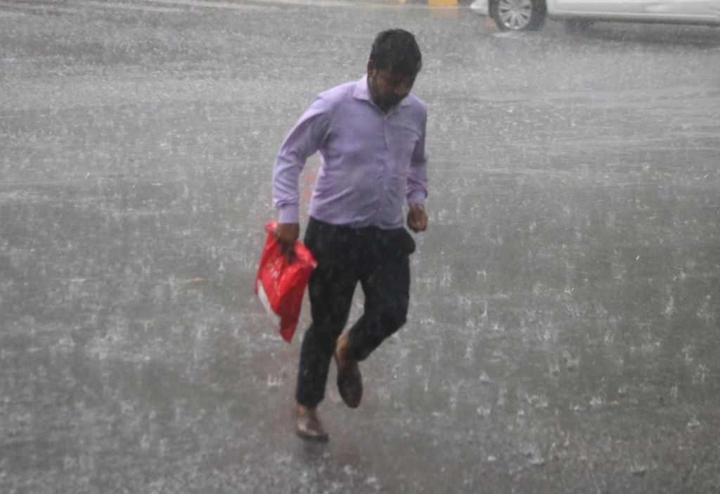 Rains lash New Delhi on July 16, 2018.