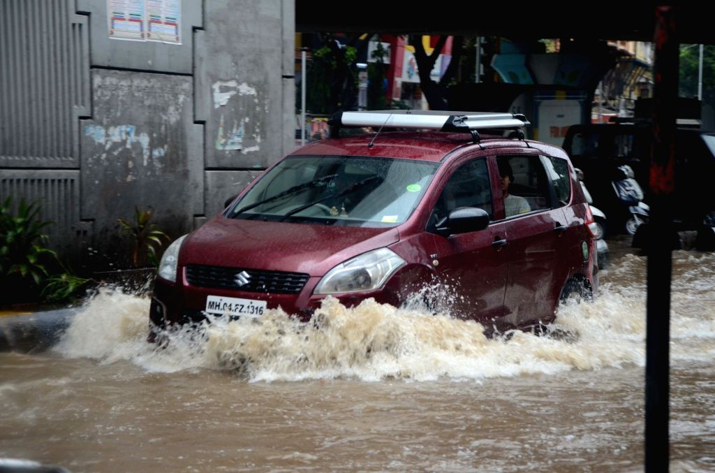 Rains leave streets water-logged in Mumbai on June 9, 2018.