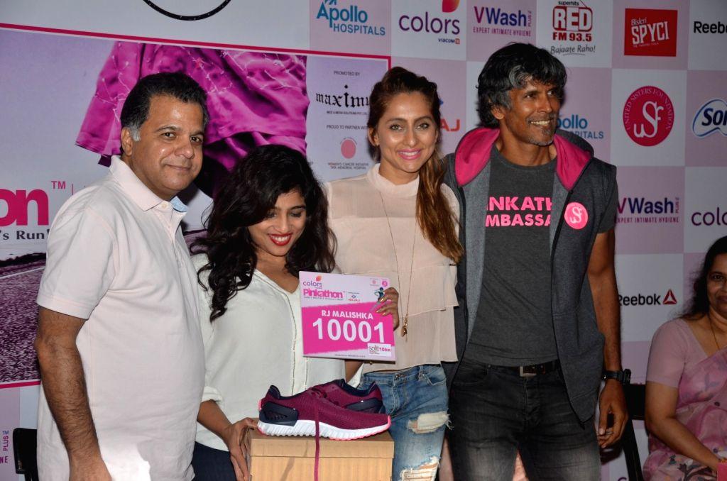 Raj Nayak, CEO, Colors, RJ Malishka, Bollywood actor Anusha Dandekar and model Milind Soman during the announcement of Fifth Edition of Pinkathon, India`s biggest women`s run in Mumbai on Nov ... - Anusha Dandekar
