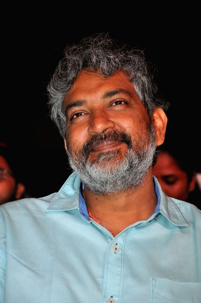 "Rajamouli during the pre release function of Telugu movie ""Ninnu Kori"" in Hyderabad."