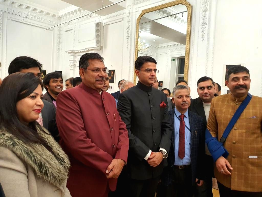 Rajasthan BJP and Congress Presidents Satish Poonia and Sachin Pilot respectively, at a programme in the UK.