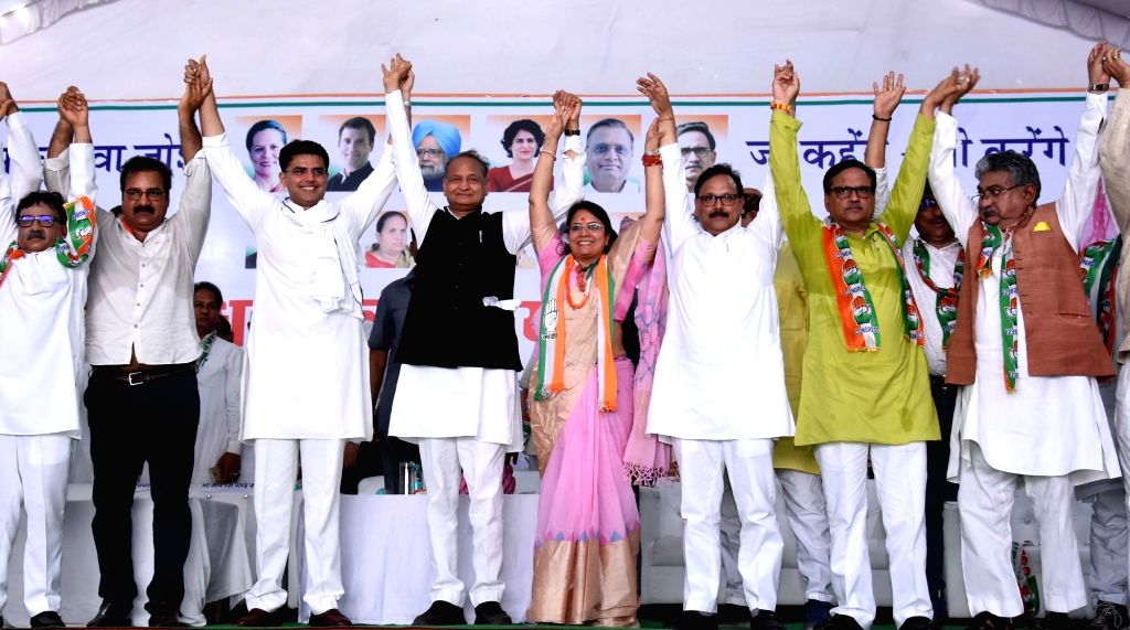 Rajasthan Chief Minister Ashok Gehlot and Deputy Chief Minister Sachin Pilot campaign for Congress' Lok Sabha candidate from Jaipur, Jyoti Khandelwal during an election rally in Jaipur, on ... - Ashok Gehlot