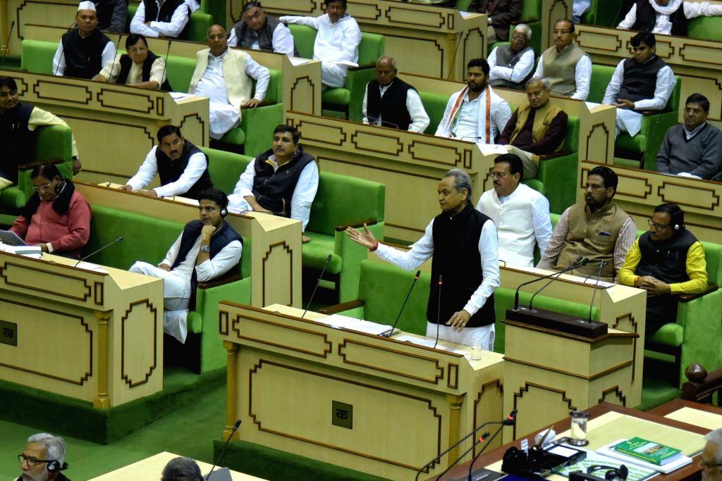 Rajasthan Chief Minister Ashok Gehlot presents state budget 2019-20 in  Rahastha Assembly in Jaipur on Feb 13, 2019. - Ashok Gehlot