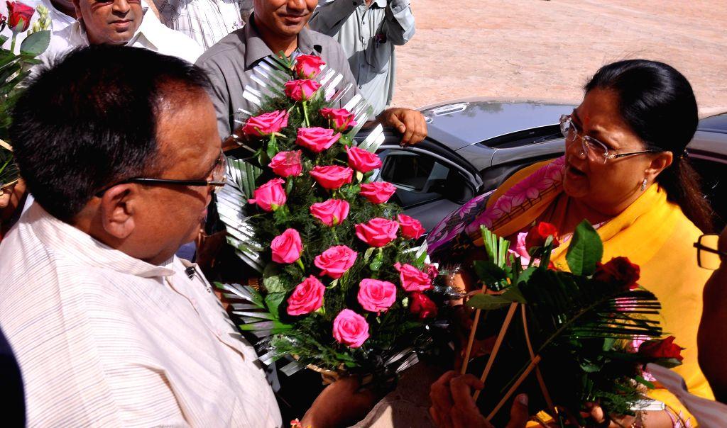 Rajasthan Chief Minister Vasundhara Raje being welcomed as she arrives at the Rajasthan Legislative Assembly in Jaipur on July 11, 2014. - Vasundhara Raje