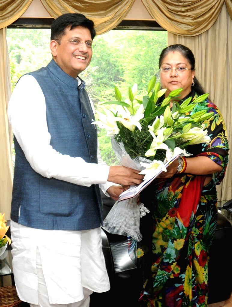 Rajasthan Chief Minister Vasundhara Raje calls on the Minister of State (Independent Charge) for Power, Coal and New and Renewable Energy Piyush Goyal, in New Delhi on August 10, 2015. - Vasundhara Raje