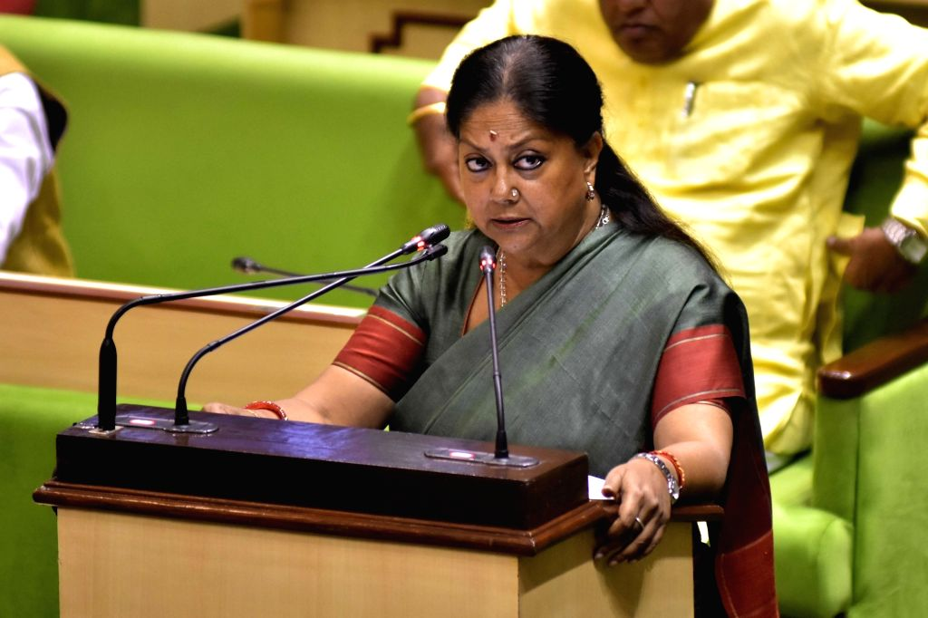 Rajasthan Chief Minister Vasundhara Raje presents her government's final budget in the state Assembly in Jaipur on Feb 12, 2018. - Vasundhara Raje