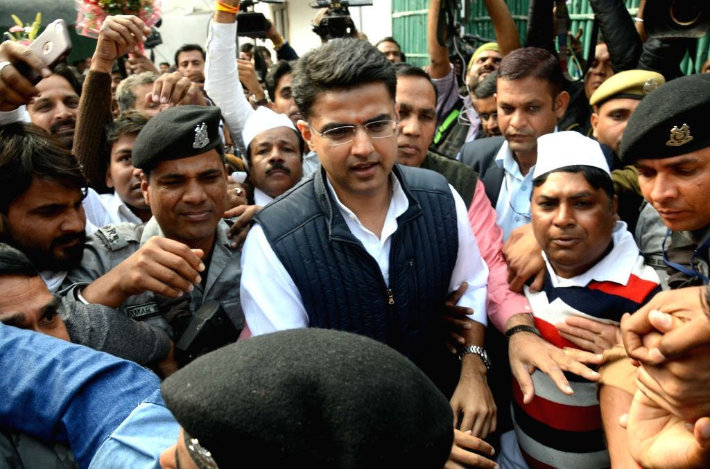 Rajasthan Congress President Sachin Pilot being greeted by party workers outside his residence in Jaipur on Dec 11, 2018.