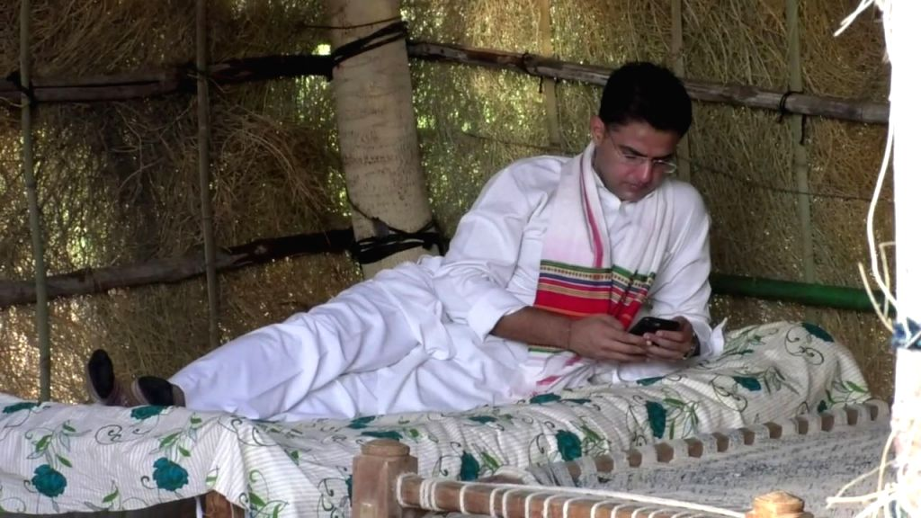 Rajasthan Deputy Chief Minister Sachin Pilot at farmer Jai Kishan's hut where he spent night at Kasela village in Jalore district of the state. - Sachin Pilot