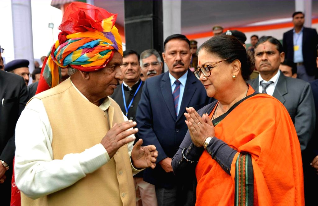 Rajasthan Governor Kalyan Singh and Chief Minister Vasundhara Raje during Republic Day 2018 celebrations in Bharatpur on Jan 26, 2018. - Vasundhara Raje and Kalyan Singh
