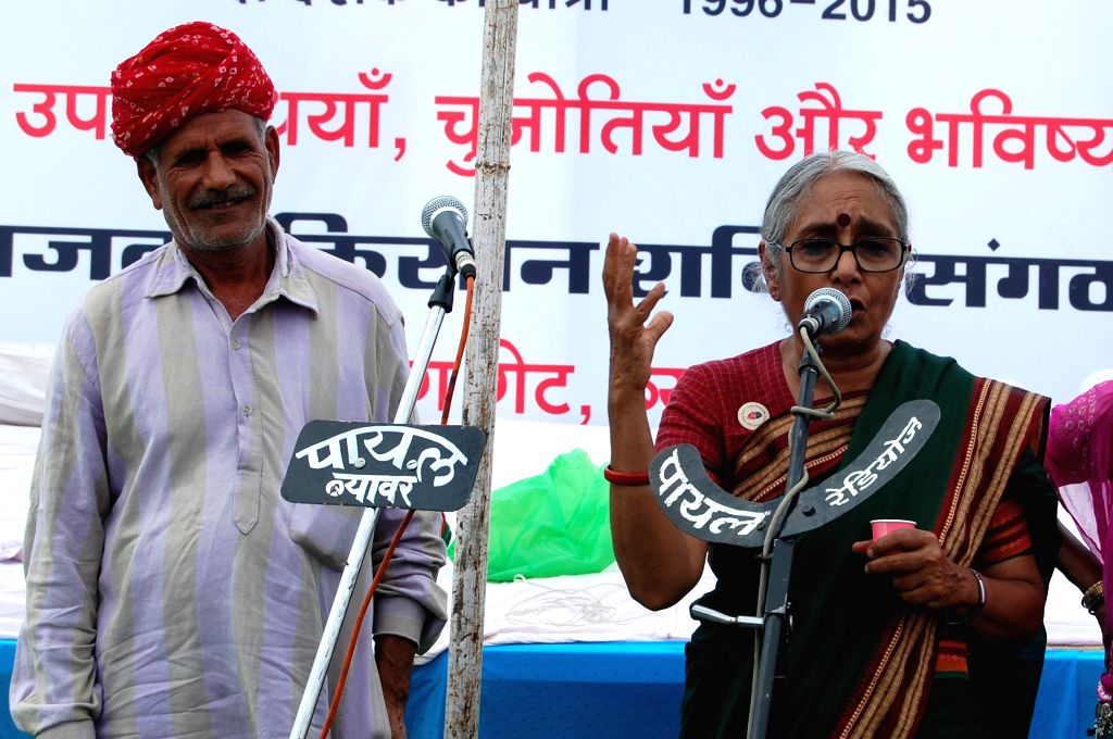 Indian political and social activist Aruna Roy addresses during a programme organised to celebrate 20 years of Right to Information Movement in Beawar of Rajasthan on April 6, 2015. - Aruna Roy
