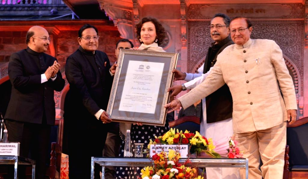 Rajasthan Minister of Urban Development Shanti Dhariwal receives the the World Heritage City certificate from Auditor General of UNESCO Audrey Azoulay in a glittering ceremony at Albert Hall ...