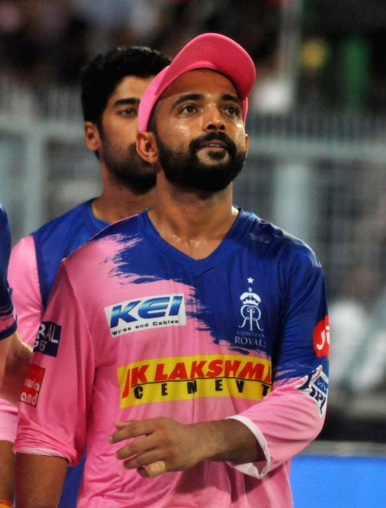 Rajasthan Royals' Ajinkya Rahane being taken away from the field after he injured his shoulder while trying to take a catch during the 43rd match of IPL 2019 between Kolkata Knight Riders ...