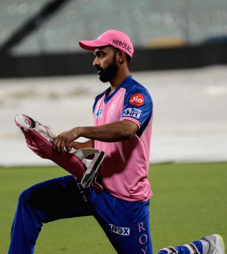 Rajasthan Royals' Ajinkya Rahane during a practice session in Kolkata, on April 24, 2019.