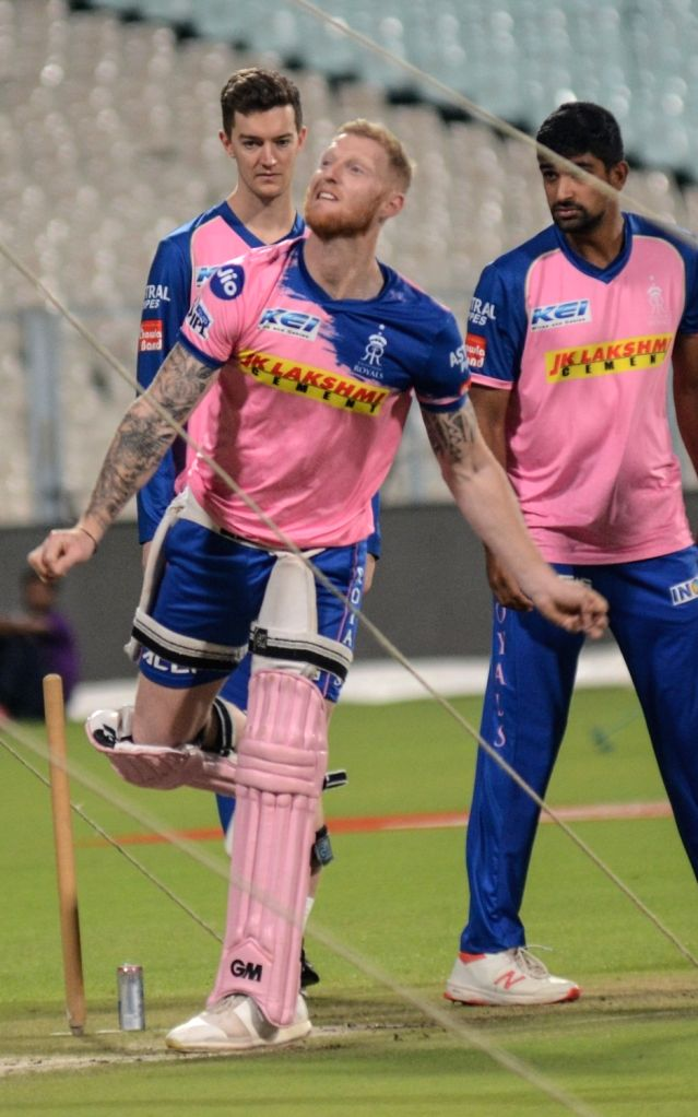 Rajasthan Royals' Ben Stokes and Ish Sodhi during a practice session in Kolkata, on April 24, 2019.