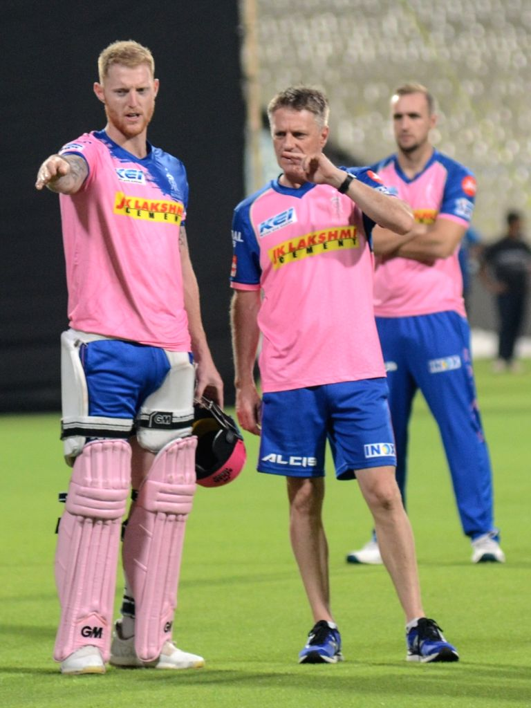 Rajasthan Royals' Ben Stokes (L) during a practice session in Kolkata, on April 24, 2019.