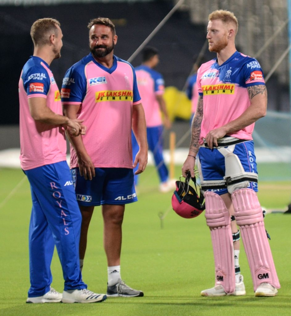 Rajasthan Royals' Ben Stokes (R) during a practice session in Kolkata, on April 24, 2019.