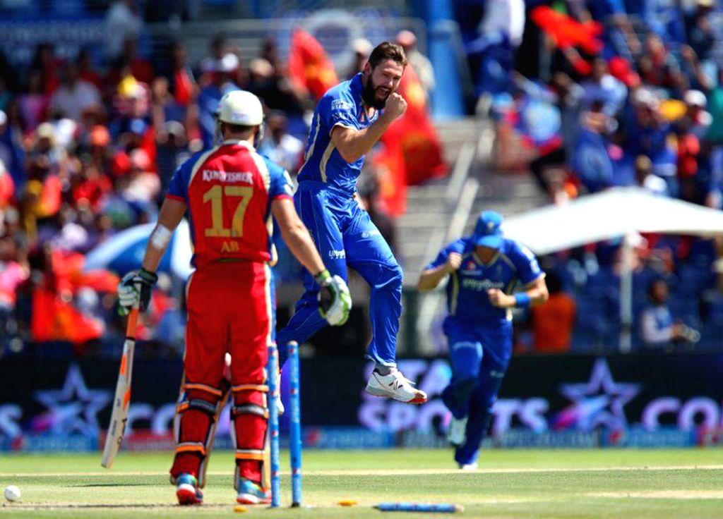 Rajasthan Royals bowler Kane Richardson celebrates the wicket of AB de Villiers of Royal Challengers Bangalore during the 14th match of IPL 2014 between Royal Challengers Bangalore and Rajasthan ... - Kane Richardson