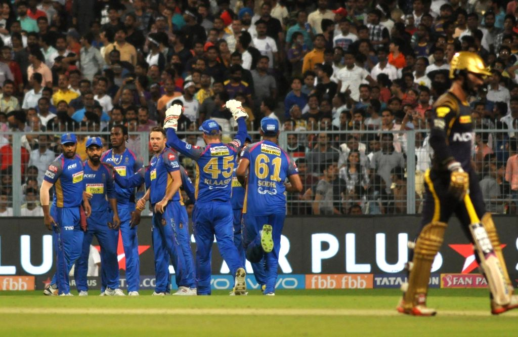 Rajasthan Royals' celebrate fall of Dinesh Karthik's wicket during the Eliminator match of IPL 2018 between Kolkata Knight Riders and Rajasthan Royals at the Eden Gardens in Kolkata on May ...