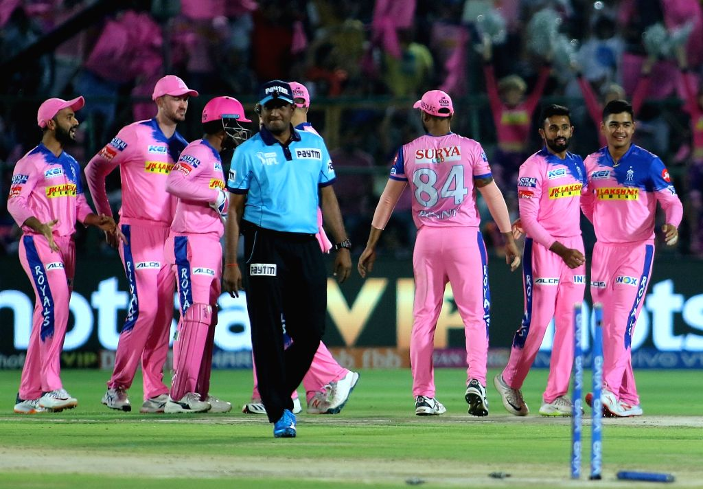 Rajasthan Royals' celebrate fall of Kane Williamson's wicket during the 45th match of IPL 2019 between Rajasthan Royals and Sunrisers Hyderabad at Sawai Mansingh Stadium in Jaipur, on April ...