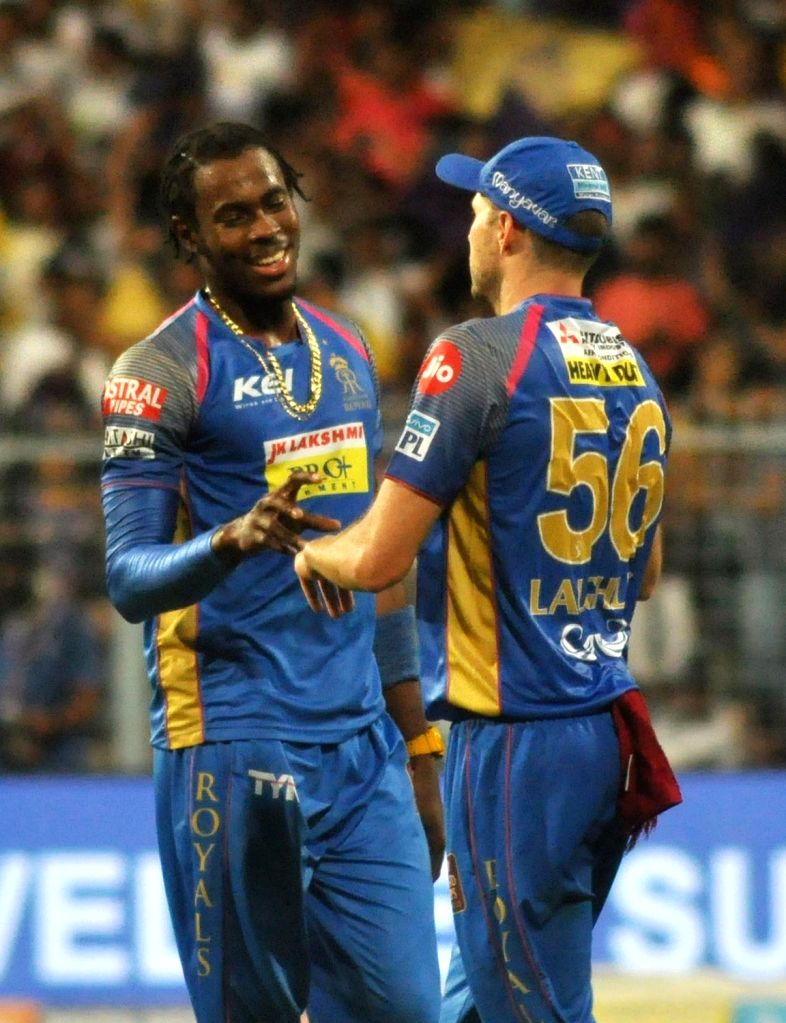 Rajasthan Royals' Jofra Archer celebrates fall of a wicket during the Eliminator match of IPL 2018 between Kolkata Knight Riders and Rajasthan Royals at the Eden Gardens in Kolkata on May ...