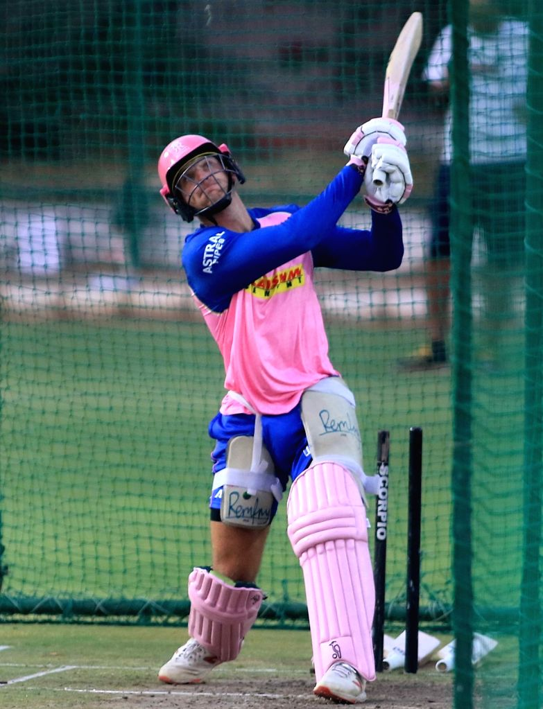 Rajasthan Royals' Jos Buttler during a practice session in Jaipur on April 10, 2019.