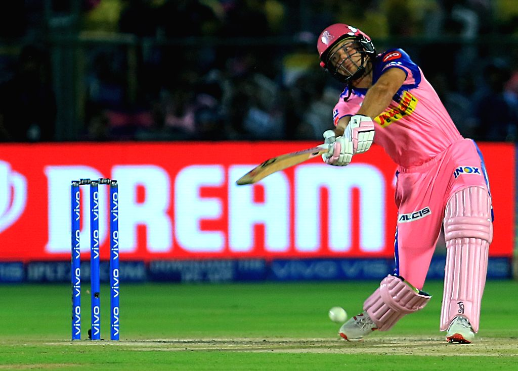 Rajasthan Royals' Jos Buttler in action during the 25th match of IPL 2019 between Rajasthan Royals and Chennai Super Kings at Sawai Mansingh Stadium in Jaipur on April 11, 2019.