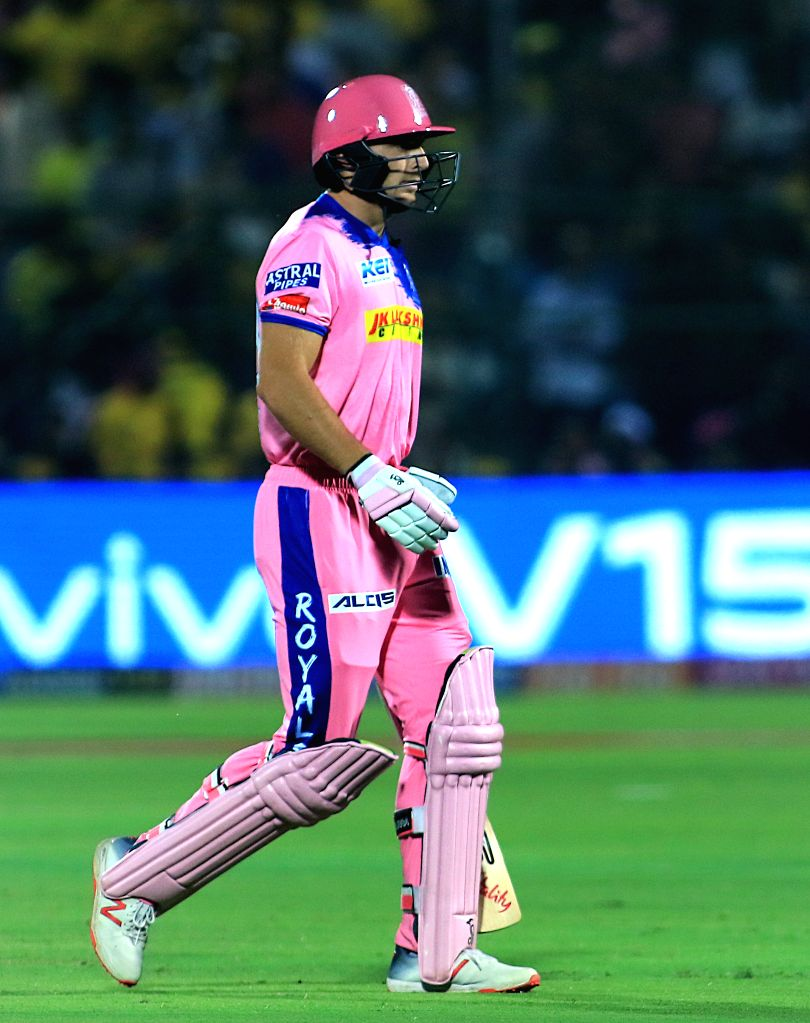 Rajasthan Royals' Jos Buttler walks back to pavilion after getting dismissed during the 25th match of IPL 2019 between Rajasthan Royals and Chennai Super Kings at Sawai Mansingh Stadium in ...