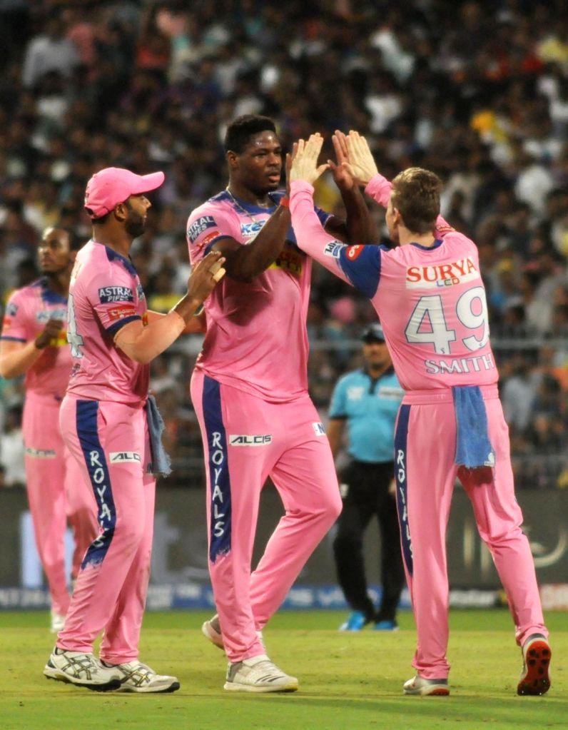 Rajasthan Royals' Oshane Thomas celebrates fall of a wicket during the 43rd match of IPL 2019 between Kolkata Knight Riders and Rajasthan Royals at Eden Gardens in Kolkata, on April 25, 2019.
