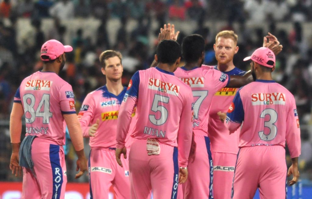 Rajasthan Royals' players celebrate fall of a wicket during the 43rd match of IPL 2019 between Kolkata Knight Riders and Rajasthan Royals at Eden Gardens in Kolkata, on April 25, 2019.