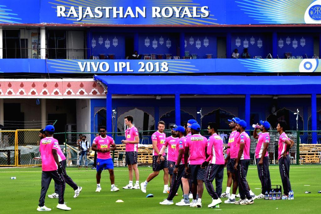 Rajasthan Royals players during a practice session at Sawai Mansingh Stadium in Jaipur on April 6, 2018.