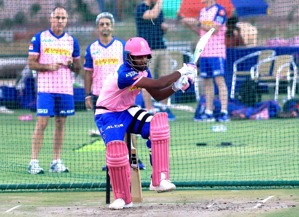 Rajasthan Royals' Sanju Samson during a practice session in Jaipur on April 10, 2019.