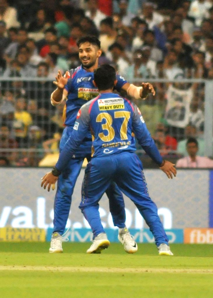 Rajasthan Royals' Shreyas Gopal celebrates fall of a wicket during the Eliminator match of IPL 2018 between Kolkata Knight Riders and Rajasthan Royals at the Eden Gardens in Kolkata on May ...