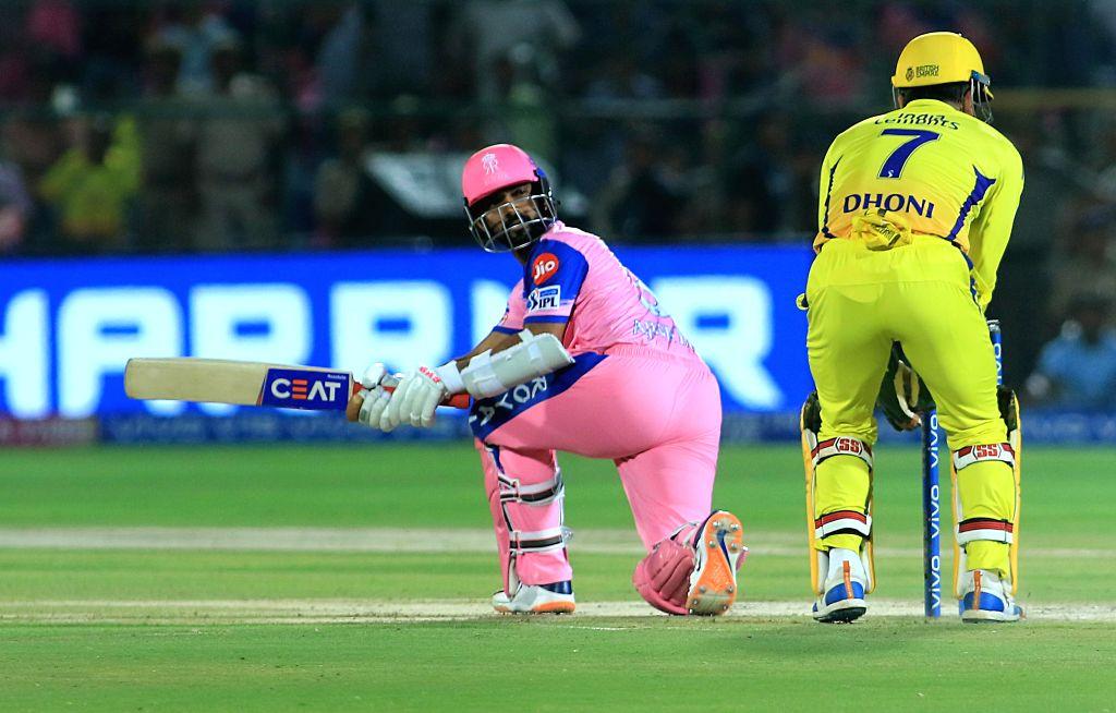 Rajasthan Royals skipper Ajinkya Rahane in action during the 25th match of IPL 2019 between Rajasthan Royals and Chennai Super Kings at Sawai Mansingh Stadium in Jaipur on April 11, 2019.