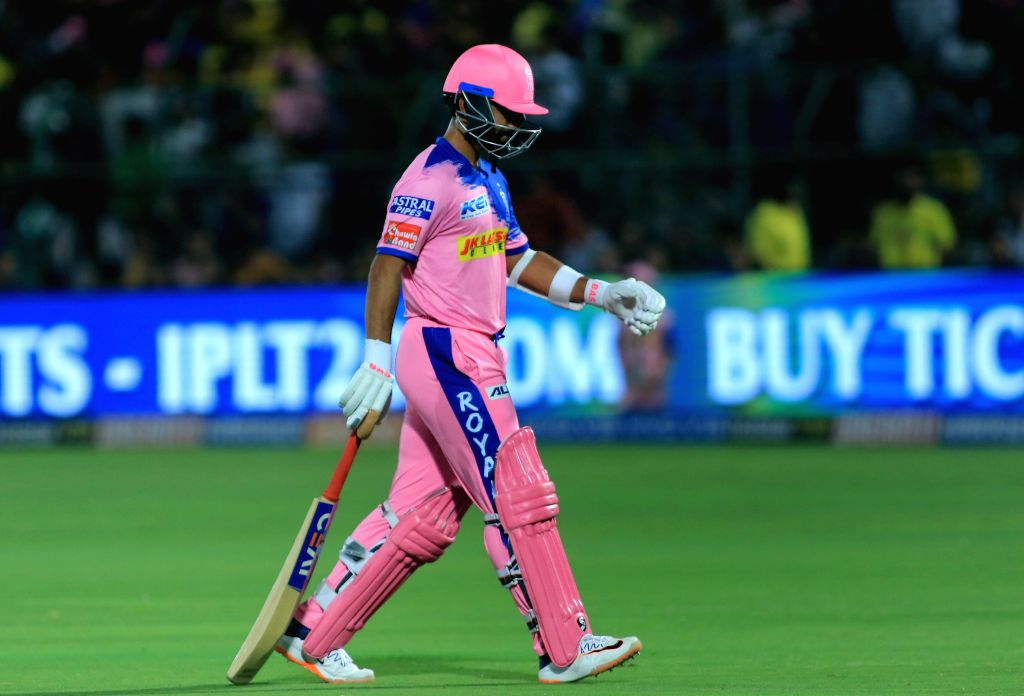 Rajasthan Royals skipper Ajinkya Rahane walks back to pavilion after getting dismissed during the 25th match of IPL 2019 between Rajasthan Royals and Chennai Super Kings at Sawai Mansingh ...