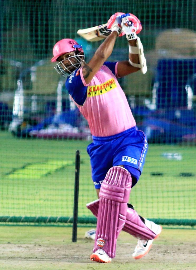 Rajasthan Royals' Stuart Binny during a practice session in Jaipur on April 10, 2019.