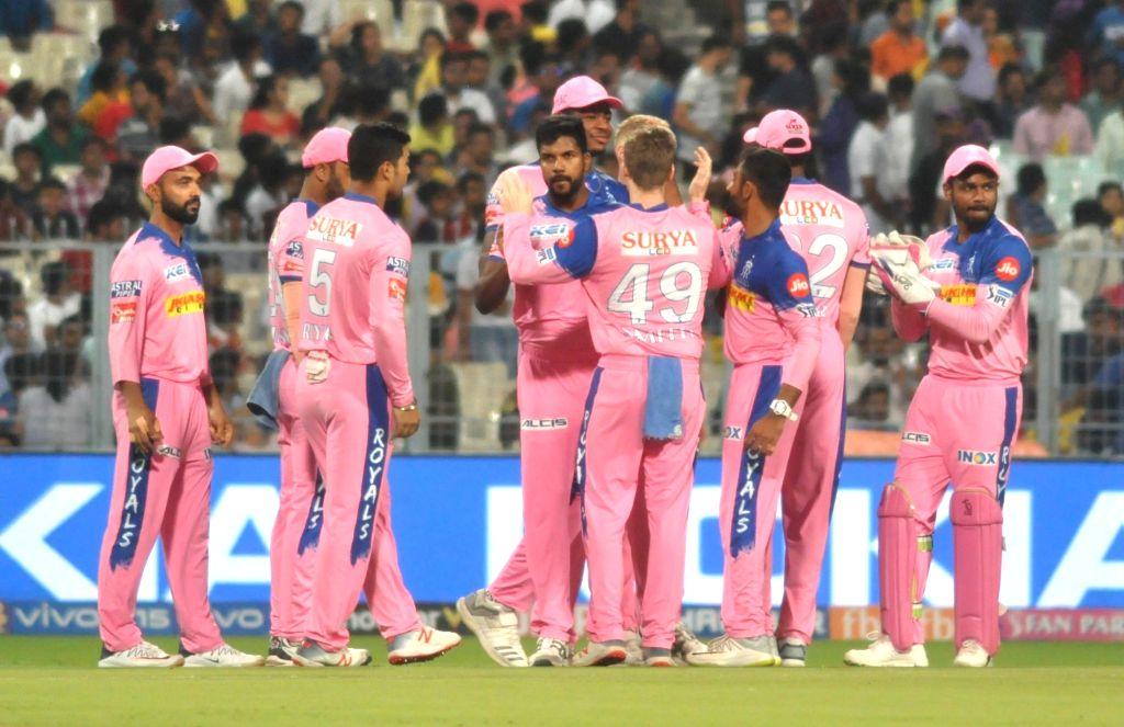 Rajasthan Royals' Varun Aaron celebrates fall of Chris Lynn's wicket during the 43rd match of IPL 2019 between Kolkata Knight Riders and Rajasthan Royals at Eden Gardens in Kolkata, on April ...