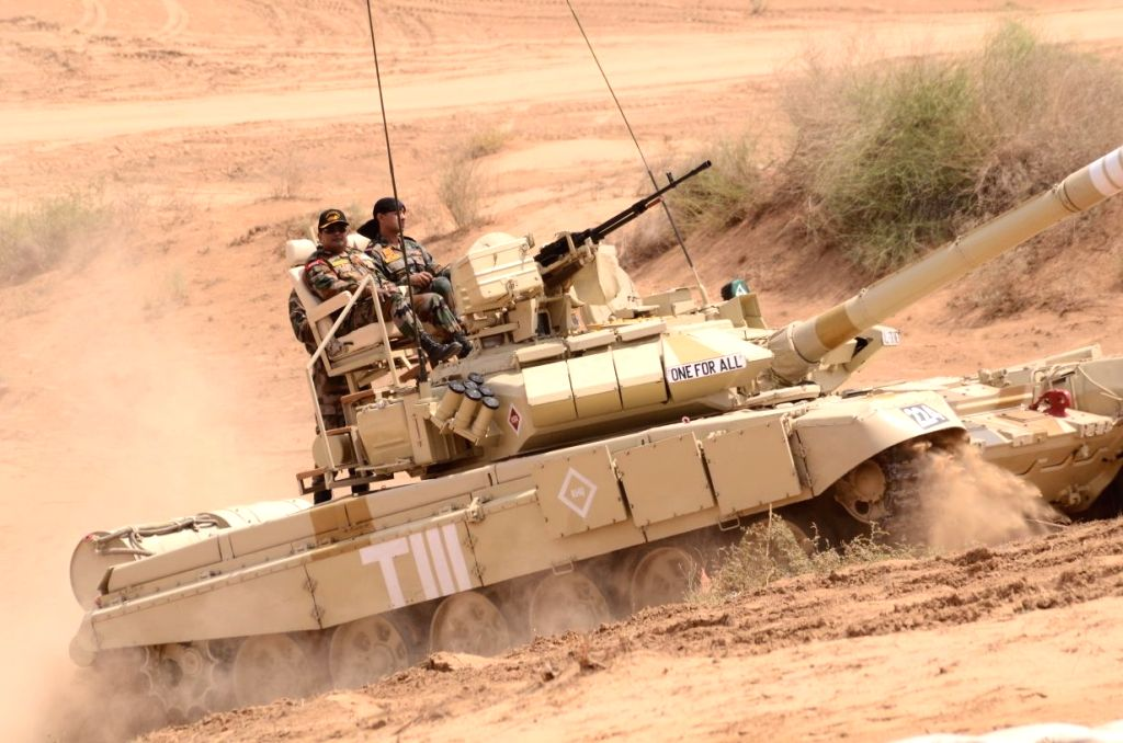 Rajasthan: Soldiers participate in a month-long military drill near the Pakistan border in Rajasthan that concluded on May 9, 2018. Over 25,000 soldiers of the Indian Army on Wednesday concluded their month-long military drill, sharpening their comba