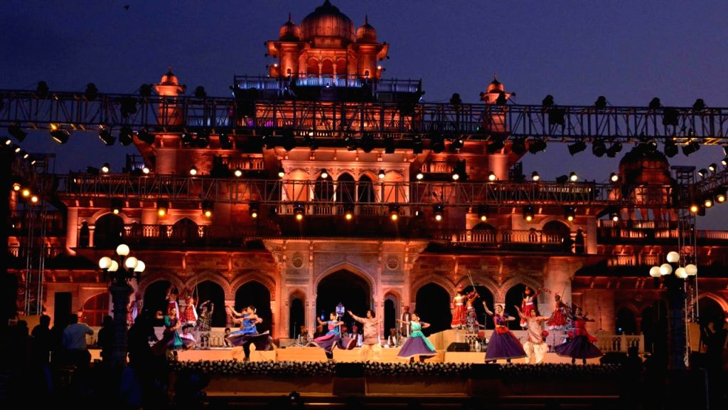 Rajasthani folk artistes perform at a glittering ceremony where Jaipur received UNESCO World Heritage City certificate, at Albert Hall in Jaipur on Feb 5, 2020.