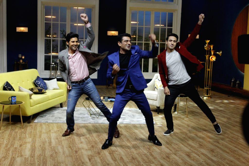 Rajeev Khandelwal, Eijaz Khan and Iqbal Khan shake a leg on sets of JuzzBaatt . - Eijaz Khan and Iqbal Khan