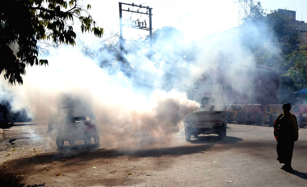 Rajendra Nagar being disinfected by Municipality workers using fogging machines on Day 2 of the 21-day nationwide lockdown imposed by the Narendra Modi government over the coronavirus ... - Narendra Modi