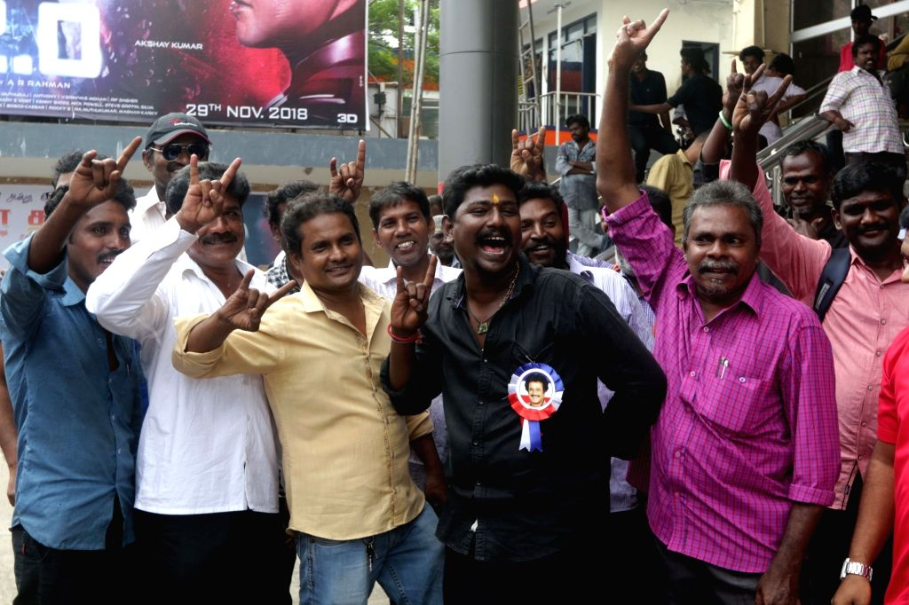 """Rajinikanth fans celebrate the release of his film """"2.0"""" in Chennai, on Nov 29, 2018."""