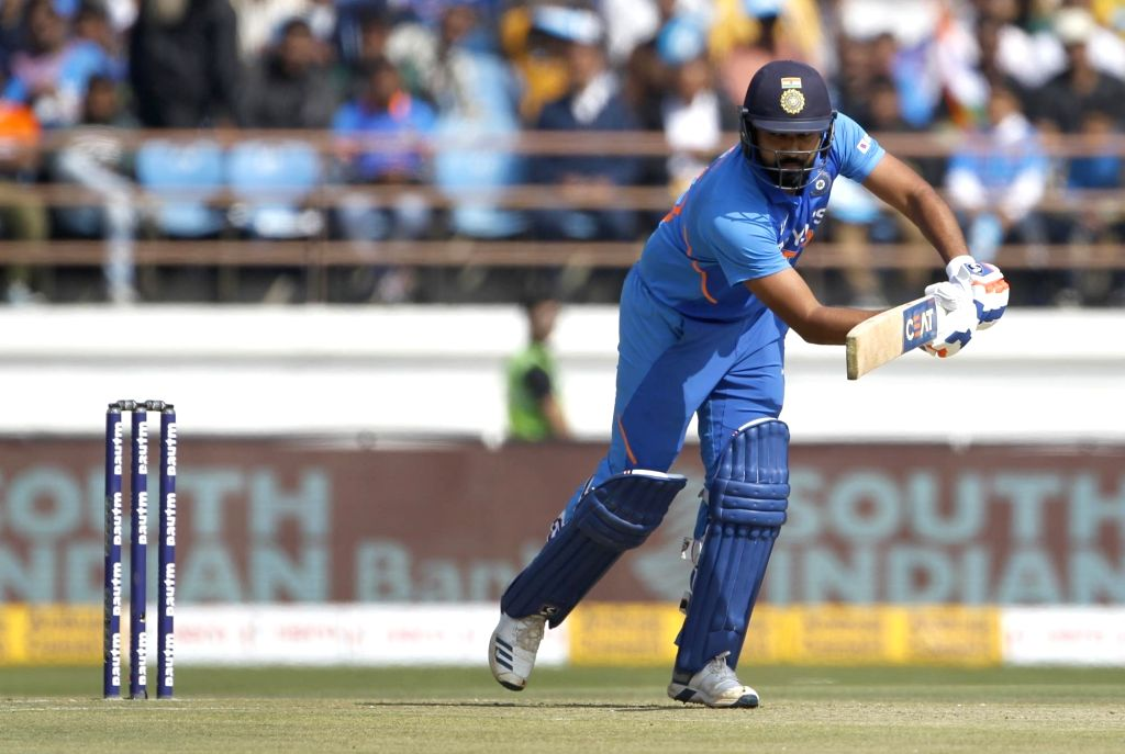 Rajkot: India's Rohit Sharma in action during the second ODI of the three-match series between India and Australia, at Saurashtra Cricket Association Stadium in Gujarat's Rajkot on Jan 17, 2020.  (Photo: Surjeet Yadav/IANS) - Rohit Sharma and Surjeet Yadav